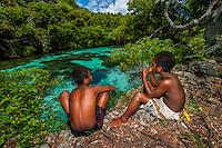 Kanak (Melanesian) boys, Natural Aquarium, Island of Mare, Loyalty Islands, New Caledonia