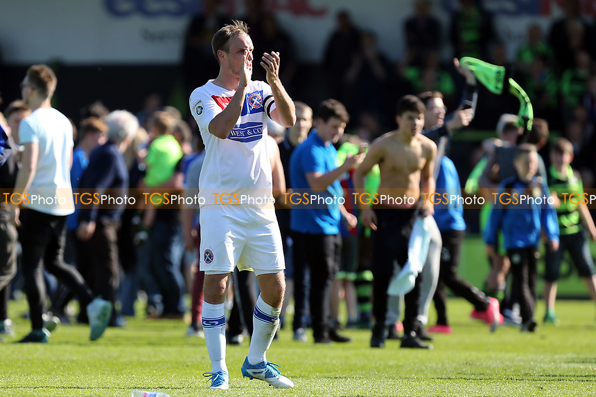 Scott Doe of Dagenham and Redbridge applauds the away fans after Forest Green Rovers vs Dagenham & Redbridge, Vanarama National League Play-Off Football at The New Lawn on 7th May 2017