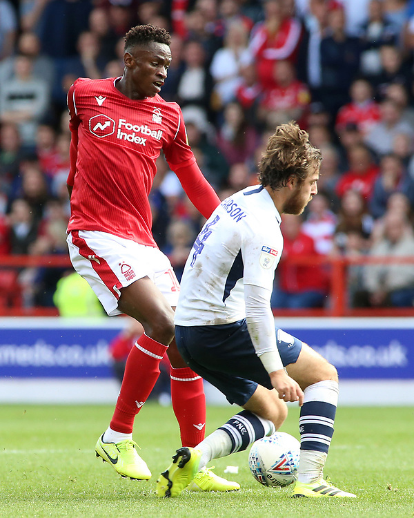 Nottingham Forest's Alfa Semedo is tackled by Preston North End's Ben Pearson<br /> <br /> Photographer David Shipman/CameraSport<br /> <br /> The EFL Sky Bet Championship - Nottingham Forest v Preston North End - Saturday 31st August 2019 - The City Ground - Nottingham<br /> <br /> World Copyright © 2019 CameraSport. All rights reserved. 43 Linden Ave. Countesthorpe. Leicester. England. LE8 5PG - Tel: +44 (0) 116 277 4147 - admin@camerasport.com - www.camerasport.com