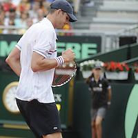 16.09.2012 Gijon, Spain Semifinals Copa Davis Esp vs USA. David Ferrer vs John Isner.  Picture show Ryan Harrison during match.