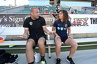 Cary, North Carolina  - Saturday August 05, 2017: Sean Nahas and Elizabeth Eddy prior to a regular season National Women's Soccer League (NWSL) match between the North Carolina Courage and the Seattle Reign FC at Sahlen's Stadium at WakeMed Soccer Park. The Courage won the game 1-0.