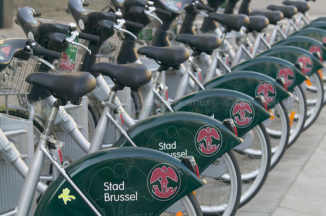 Bikes in Brussels, Belgium available for rent, provided by the Brussels-Capital Region and City of Brussels (Stad Brussel), whose logos are shown.