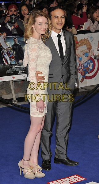 LONDON, ENGLAND - MARCH 20: Dakota Blue Richards &amp; guest attend the &quot;Captain America: The Winter Soldier&quot; UK film premiere, Vue Westfield, Westfield Shopping Centre, Shepherd's Bush, on Thursday March 20, 2014 in London, England, UK.<br /> CAP/CAN<br /> &copy;Can Nguyen/Capital Pictures