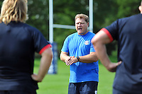 Forwards coach Neal Hatley speaks to his players. Bath Rugby training session on August 27, 2013 at Farleigh House in Bath, England. Photo by: Patrick Khachfe/Onside Images