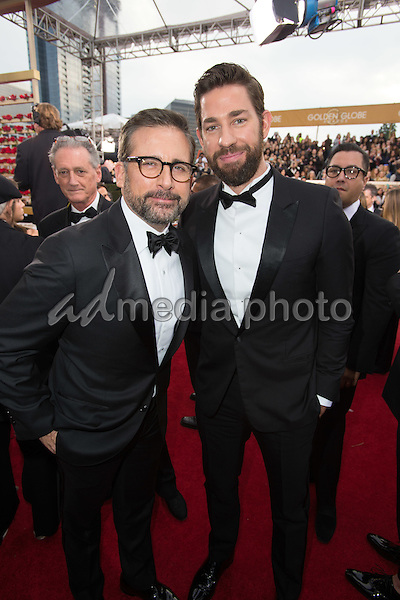"Steve Carell, Golden Globe Nominee in the category of BEST PERFORMANCE BY AN ACTOR IN A MOTION PICTURE for ""The Big Short"", and presenter John Krasinski, arrive at the 73rd Annual Golden Globe Awards at the Beverly Hilton in Beverly Hills, CA on Sunday, January 10, 2016. Photo Credit: HFPA/AdMedia"
