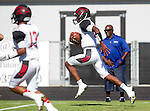 Palos Verdes, CA 09/25/15 - Chris Murray (Lawndale #12) in action during the Lawndale - Palos Verdes Peninsula Varsity football game at Peninsula High School.