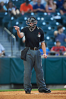 Umpire Paul Clemons during a game between the Lehigh Valley IronPigs and Buffalo Bisons on August 29, 2016 at Coca-Cola Field in Buffalo, New York.  Buffalo defeated Lehigh Valley 3-2.  (Mike Janes/Four Seam Images)