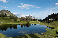 Austria, Vorarlberg, near Schroecken: Lake Koerber south-east of Hochtannberg passroad with Hotel Koerbersee
