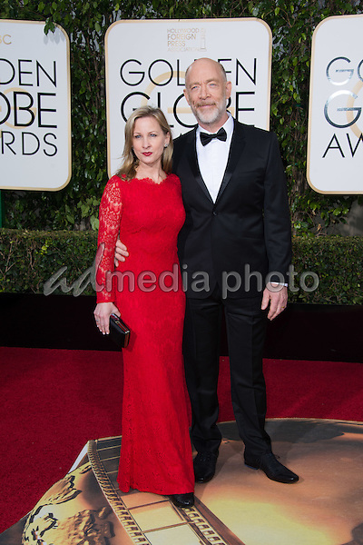 Michelle Schumacher and J.K. Simmons, presenter, arrive at the 73rd Annual Golden Globe Awards at the Beverly Hilton in Beverly Hills, CA on Sunday, January 10, 2016. Photo Credit: HFPA/AdMedia