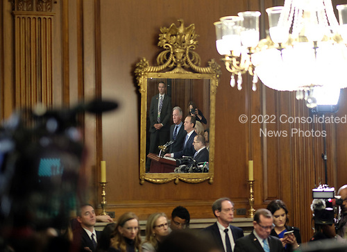 United States Representative Adam Schiff (Democrat of California), is seen reflected in a mirror while speaking alongside United States Representative Jerrold Nadler (Democrat of New York), United States Representative Maxine Waters (Democrat of California), and United States Representative Richard Neal (Democrat of Massachusetts), at a news conference laying out articles of impeachment for President Donald J. Trump, on Capitol Hill in Washington, DC on Tuesday, December 10, 2019. Credit: Alex Wroblewski / CNP