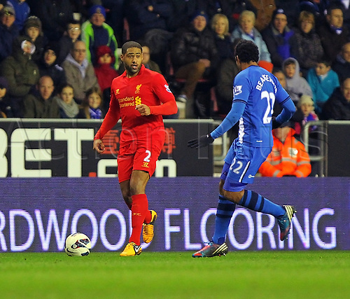02.03.2013 Wigan, England. Glen Johnson of Liverpool in action during the Premier League game between Wigan Athletic and Liverpool at the DW Stadium.