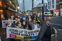 Stand up to Racism hold a protest in Bethnal Green after a Muslim woman had her hijab pulled off in an apparent racist attack. London 17-10-18