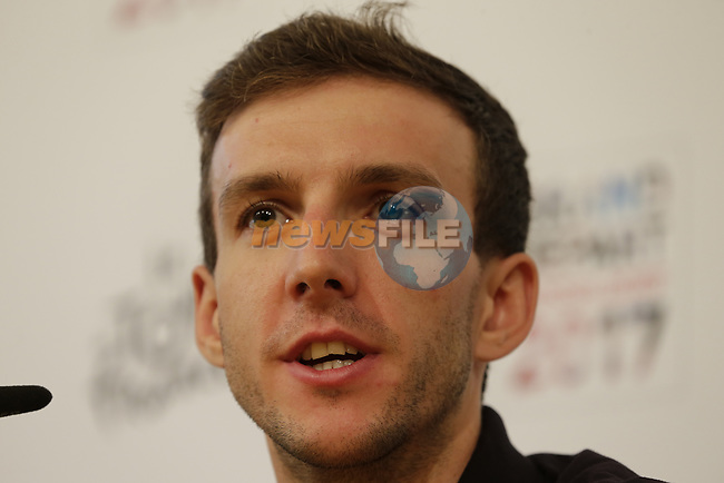 Simon Yates (GBR) Orica-Scott press conference in Dusseldorf before the 104th edition of the Tour de France 2017, Dusseldorf, Germany. 29th June 2017.<br /> Picture: Eoin Clarke | Cyclefile<br /> <br /> <br /> All photos usage must carry mandatory copyright credit (&copy; Cyclefile | Eoin Clarke)