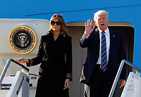 U.S. President Donald Trump, right, and his wife Melania disembark from Air Force One at Rome's Fiumicino international airport, May 23, 2017. Trump will meet Pope Francis, at the Vatican, and Italian President Sergio Mattarella, on May 24.<br /> UPDATE IMAGES PRESS/Riccardo De Luca