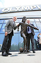 Belfast, County Antrim, Northern Ireland, 22th May, 2019 - Pat Jennings (left) and Gerry Armstrong (right) both former Northern Ireland footballers gathered at the Olympia Leisure Centre in Belfast for the unveiling of a bronze statue of the late George Best, on what would have been the football legend's 73rd Birthday.  Paul McErlane