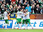 S&ouml;dert&auml;lje 2014-05-18 Fotboll Superettan Syrianska FC - Hammarby IF :  <br /> Hammarbys Pablo Pinones-Arce har gjort 3-2 och jublar med Hammarbys Kennedy Bakircioglu , Hammarbys Nahir Besara och Hammarbys Amadayia Rennie framf&ouml;r Hammarbys supportrar<br /> (Foto: Kenta J&ouml;nsson) Nyckelord:  Syrianska SFC S&ouml;dert&auml;lje Fotbollsarena Hammarby HIF Bajen jubel gl&auml;dje lycka glad happy supporter fans publik supporters