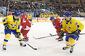 Anton Lander (Sweden - 16), Roman Horak (Czech Republic - 23), Adam Polasek (Czech Republic - 3), Gabriel Landeskog (Sweden - 14) - Sweden defeated the Czech Republic 4-2 at the Urban Plains Center in Fargo, North Dakota, on Saturday, April 18, 2009, in their final match of the 2009 World Under 18 Championship.