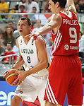 07.09.2014. Barcelona, Spain. 2014 FIBA Basketball World Cup, round of 8. Picture show J. Maciulis in action during game between Lithuania v Turkey at Palau St. Jordi.