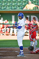 Yensys Capellan (10) of the Ogden Raptors at bat against the Orem Owlz in Pioneer League action at Lindquist Field on June 18, 2015 in Ogden, Utah.  This was Opening Night play of the 2015 Pioneer League season.  (Stephen Smith/Four Seam Images)