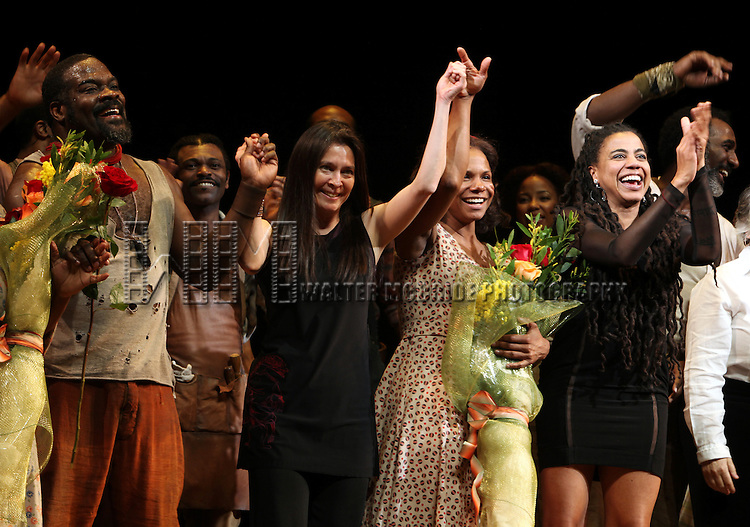 Phillip Boykin, Director Diane Paulus, Audra McDonald & Suzan-Lori Parks.during the Opening Night Curtain Call for 'The Gershwins' Porgy & Bess' at the Richard Rodgers Theatre in New York City. 1/12/2012