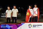 (L-R) Hong Kong team group (HKG), China team group (CHN), <br /> AUGUST 31, 2018 - Sailing : Mixed RS-One Victory ceremony at Indonesia National Sailing Center during the 2018 Jakarta Palembang Asian Games in Jakarta, Indonesia. <br /> (Photo by MATSUO.K/AFLO SPORT)