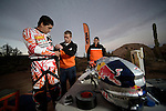 BAJA CALIFORNIA, MEXICO - NOVEMBER 15:  Ivan Ramirez of the FMF/Bonanza Plumbing KTM team, prepares in the pit during the 2013 SCORE Baja 1000 on November 15, 2013 in Baja California, Mexico. (Photo by Donald Miralle for ESPN the Magazine) *** Local Caption ***Ivan Ramirez