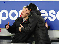 Lincoln City manager Danny Cowley poses for a selfie with a fan during the pre-match warm-up<br /> <br /> Photographer Andrew Vaughan/CameraSport<br /> <br /> Emirates FA Cup Third Round - Everton v Lincoln City - Saturday 5th January 2019 - Goodison Park - Liverpool<br />  <br /> World Copyright &copy; 2019 CameraSport. All rights reserved. 43 Linden Ave. Countesthorpe. Leicester. England. LE8 5PG - Tel: +44 (0) 116 277 4147 - admin@camerasport.com - www.camerasport.com