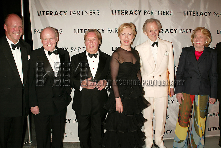 Simon Winchester, Jack Welch, Arnold Scaasi, Hillary Rodham Clinton, Tom Wolfe and Liz Smith.Attending  the Literacy Partners 20th  Annual Gala,.AN EVENING OF READINGS at Lincoln Center, Honoring Tom Brokaw, Tim Russert and Jack Welch..May 3, 2004.