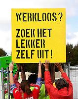 Protest van de vakbond  FNV tegen de bezuinigingen