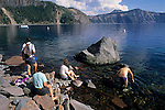 Tourists at Cleetwood Cove, the only access to the water, Crater Lake National Park, Oregon