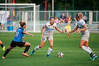 Kansas City, MO - Thursday August 10, 2017: Desiree Scott, Ashley Hatch, Lynn Williams during a regular season National Women's Soccer League (NWSL) match between FC Kansas City and the North Carolina Courage at Children's Mercy Victory Field.