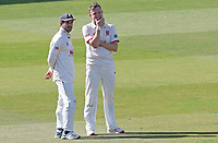 Sam Cook of Essex (right) chats with captain Ryan ten Doeschate during Warwickshire CCC vs Essex CCC, Specsavers County Championship Division 1 Cricket at Edgbaston Stadium on 10th September 2019
