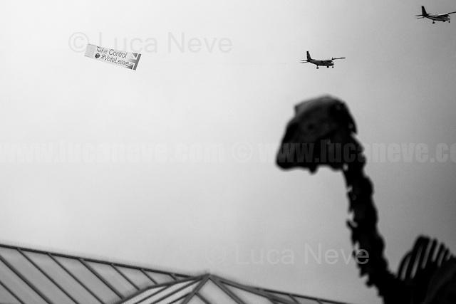 """Leave Campaign banner flying over Trafalgar Square during Jo Cox MP Memorial.<br /> <br /> """" #MoreInCommon: London Celebrates Jo Cox"""".<br /> <br /> Memorial for Jo Cox MP in London's Trafalgar Square (Jo Cox was a Labour Member of Parliament who was brutally killed by the far-right extremist Thomas Mair on the 16th of June 2016).<br /> <br /> London, March-July 2016. Reporting the EU Referendum 2016 (Campaign, result and outcomes) observed through the eyes (and the lenses) of an Italian freelance photojournalist (UK and IFJ Press Cards holder) based in the British Capital with no """"press accreditation"""" and no timetable of the main political parties' events in support of the RemaIN Campaign or the Leave the EU Campaign.<br /> On the 23rd of June 2016 the British people voted in the EU Referendum... (Please find the caption on PDF at the beginning of the Reportage).<br /> <br /> For more photos and information about this event please click here: http://lucaneve.photoshelter.com/gallery/22-06-2016-MoreInCommon-London-Celebrates-Jo-Cox/G0000EaldWPY5_Sk/C0000GPpTqAGd2Gg<br /> <br /> For more information about the result please click here: http://www.bbc.co.uk/news/politics/eu_referendum/results"""