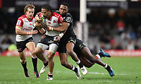 Lukhanyo Am of the Cell C Sharks tackling Courtnall Skosan of the Emirates Lions during the Vodacom Super Rugby match between the Cell C Sharks and the Emirates Lions the at Growthpoint Kings Park in Durban, South Africa. 15th July 2017(Photo by Steve Haag)