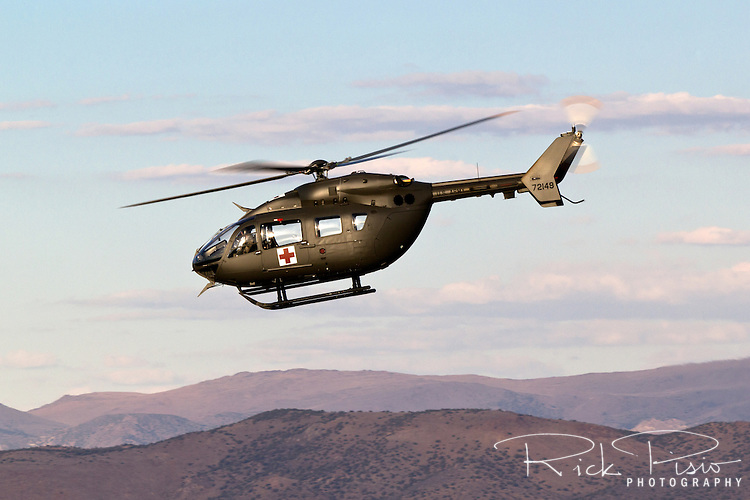 U.S. Army UH-72A Lakota Light Utility Helicopter in flight. The UH-72A Lakota helicopters were acquired by the Army to replace the UH-1H Iroquois and OH-58 A/C Kiowa helicopters.