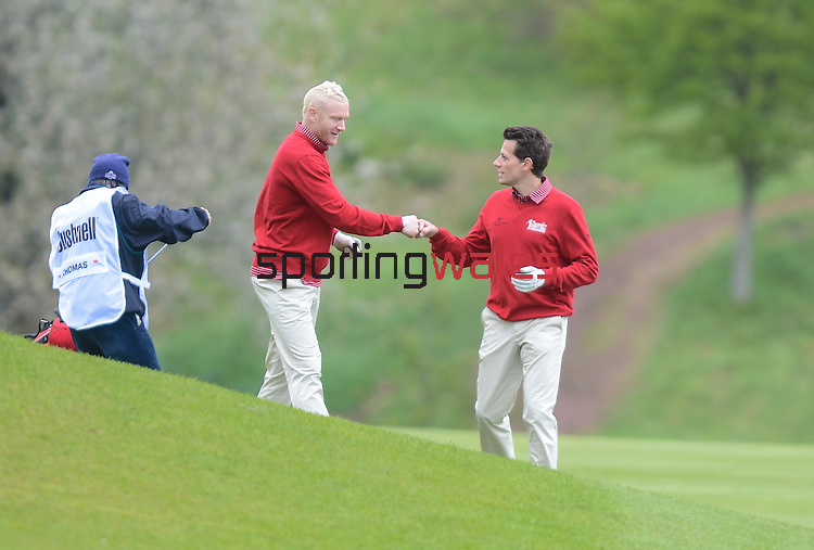 Wale's Ioan Gruffudd congratulates Wale's Iwan Thomas on his fairway shot on the 3rd..Celebrity Cup at Golf Live  - Day 2 - Celtic Manor Resort - Saturday 11th  May  2013 - Newport ..© www.sportingwales.com- PLEASE CREDIT IAN COOK