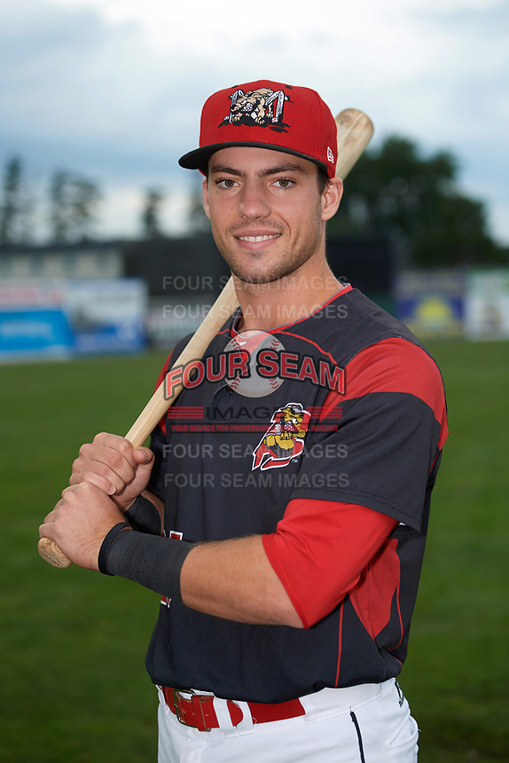 Batavia Muckdogs Denis Karas (25) poses for a photo before a game against the Auburn Doubledays on September 6, 2017 at Dwyer Stadium in Batavia, New York.  Auburn defeated Batavia 6-3.  (Mike Janes/Four Seam Images)
