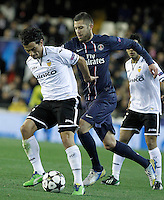 Valencia CF's Tino Costa (l) and Paris Saint-Germain's Jeremy Menez during Champions League 2012/2013 match.February 12,2013. (ALTERPHOTOS/Acero)