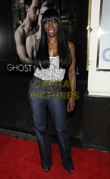 """HEATHER SMALL.""""Ghost The Musical"""" press night, Piccadilly Theatre, Denman St., London, England..July 19th, 2011.full length jeans denim high waist grey gray white print top.CAP/CAN.©Can Nguyen/Capital Pictures."""