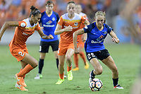 Houston, TX - Sunday August 13, 2017:  Poliana Barbosa Medeiros and Brittany Ratcliffe during a regular season National Women's Soccer League (NWSL) match between the Houston Dash and FC Kansas City at BBVA Compass Stadium.