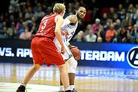 GRONINGEN - Basketbal, Donar - Feyenoord, Dutch Basketbal league, seizoen 2018-2019, 28-10-2018, Donar speler Jordan Callahan met Feyenoord speler Kasper Averink