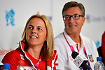 LONDON, ENGLAND 28/08/2012 -  Diane Roy and Henry Storgaard, CEO of the CPC at the Team Canada Preview Press Conference at the London 2012 Paralympic Games at The Main Press Centre. (Photo: Phillip MacCallum/Canadian Paralympic Committee)
