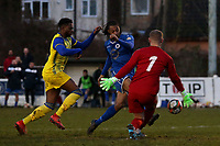 Dwade James of Walthamstow is denied by Louis Hawes of Hashtag United during Walthamstow vs Hashtag United, Essex Senior League Football at Wadham Lodge Sports Ground on 30th November 2019