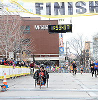 Matt Glowacki wins the Wheelchair Full Marathon during the Madison Marathon on Sunday in Madison