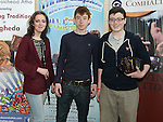 Ava Swift, Michael Coleman and Sárán Mulligan from Dundalk who took part in the Louth Fleadh competitions in St. Oliver's Community College Drogheda. Photo:Colin Bell/pressphotos.ie
