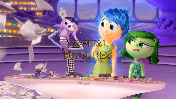 Fear (voice of Bill Hader), Joy (voice of Amy Poehler) and Disgust (voice of Mindy Kaling)<br /> in Inside Out (2015) <br /> *Filmstill - Editorial Use Only*<br /> CAP/FB<br /> Image supplied by Capital Pictures
