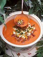 """Europe/Espagne/Baléares/Minorque :Gaspacho -  Soupe de tomates du potager - Recette de Pilar du restaurant """"Sa Vinya"""""""