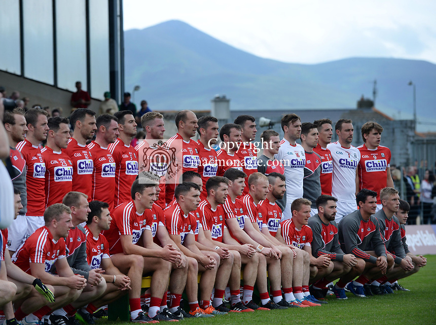 2-7-2017: A mountain to climb... The Cork team at the Kerry V Cork Munster Football final in Killarney on Sunday.<br /> Photo: Don MacMonagle