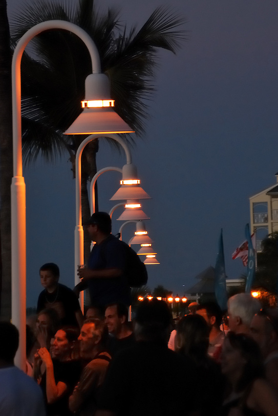 Sunset Wharf crowds, Key West, FL, USA