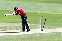 Adam Wheater of Essex is bowled out by Matt Henry during Essex Eagles vs Kent Spitfires, Royal London One-Day Cup Cricket at The Cloudfm County Ground on 6th June 2018